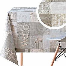 KP HOME Wipe Clean Tablecloth Rustic Light Grey