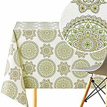 KP HOME Wipe Clean Tablecloth With Oriental Lotus