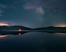 Kpoiuy Night Lake Stars Tent Camping