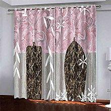 KQDMYT 3D Blackout Eyelet Curtain Abstract Vase