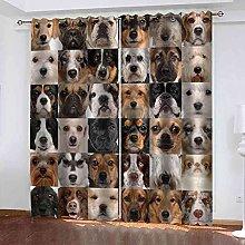 KQDMYT 3D Blackout Eyelet Curtain Animal Dog Print