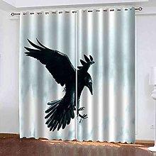 KQDMYT 3D Blackout Eyelet Curtain Black Animal