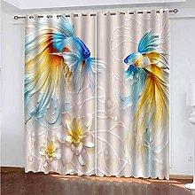 KQDMYT 3D Blackout Eyelet Curtain Blue Goldfish