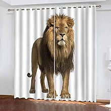 KQDMYT Eyelets Curtains - Animal Lion Print