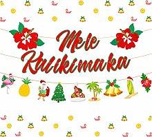 Kreatwow Mele Kalikimaka Banner Hawaiian Christmas