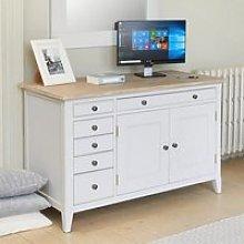 Krista Wooden Computer Desk In Grey With 2 Doors