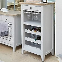 Krista Wooden Wine Rack In Grey With 1 Drawer