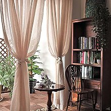 ksamwjf Cotton Linen Curtain For Bedroom,Semi