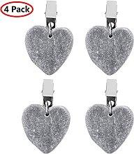 KTSM-Stop-T Home 4pcs Tablecloth Clips Heart Shape