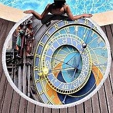 Kuidf Gold Beach Towel Prague Astronomical Clock