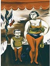 Kuniyosh Strong Woman Child Modernist Painting