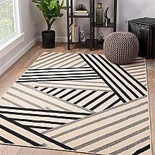 Kunsen Rug For Bedroom Black gray striped salon