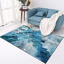 Kunsen Rug For Bedroom Blue abstract fantasy light