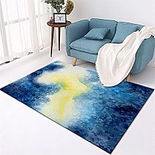Kunsen Rugs Small Blue yellow abstract fantasy