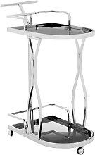 Kurhah 2 Tier Wavy Design Bar Trolley In Silver