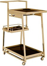 Kurhah 3 Tier Bar Trolley In Gold Finish