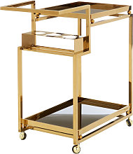 Kurhah 3 Tier Bar Trolley With Gold Finish Frame
