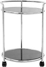 Kurhah Round Bar Trolley In Silver With Black