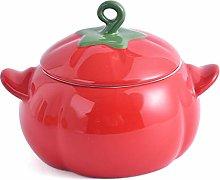 KVV Ceramics Halloween Tomato Bowl with Lid ,Soup