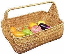 KWENG Bamboo And Rattan Woven Picnic Basket,