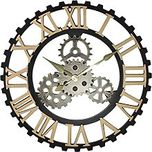 KX&VV Wall Clock Roman Retro Gear Wood Clock Speciality Clocks Indoor Wall Clock for Living Room Bedroom Kitchen Decor Cafe Hotel Office Gold 50cm