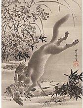 Kyosai Fox Catching Bird Japanese Painting Large