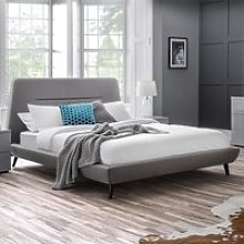 Kyoto Linen Framed Double Bed In Grey