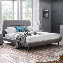 Kyoto Linen Framed King Size Bed In Grey