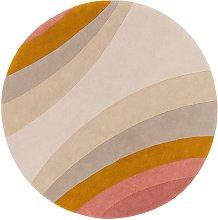 L'Eree Ochre Round Rug - 200 cm / Orange / Wool