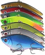 L-MEIQUN, 7pcs Sinking VIB Fishing Lures 7cm 16g
