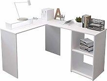 L-Shape Computer Desk with Shelves Storage,Wood