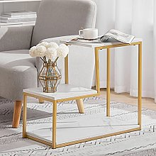 L-shaped Coffee Table Space-Saving Nested Side