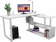 L-Shaped Computer Corner Desk And Rotating Shelf