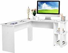 L-shapedComputerDesk, White Office Desk Corner