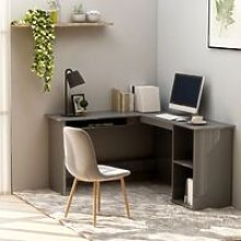 L-Shaped Corner Desk High Gloss Grey 120x140x75 cm