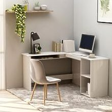 L-Shaped Corner Desk High Gloss White 120x140x75