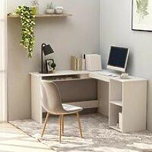 L-Shaped Corner Desk White 120x140x75 cm Chipboard