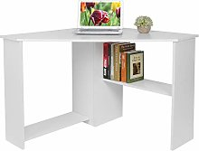 L-Shaped Home Office Wood Corner Desk, White