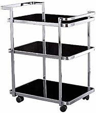 L-YINGZON Trolley 3-Tier Wrought Iron Service