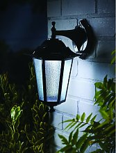 L26414 Motion Sensor Black Uffington Lantern Wall Solar Light - Gardman