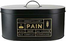 LA BOITE A BT6671 Bread Bin, Metal, Black-Gold,