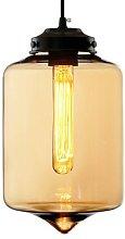 LA011 hanging light E27 tube glass lampshade amber
