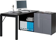 Labirent Wooden Computer Desk In Dark Oak And Grey