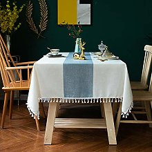 Lace Cotton and Linen Fabric Tablecloth Striped
