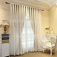 Lace Embroidery Double-Layer Blackout Curtain for