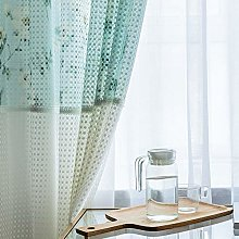 Lace Flower Printed Curtains,fashion Blue-green