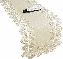 Lace Linen Beige Table Runner Rectangular Dresser