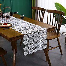 Lace Table Runner White Flower Runners for Kitchen