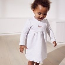 Lace-Trimmed Jersey Dress, Ecru, 12-18mths