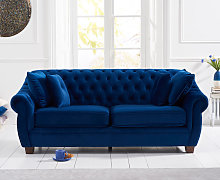 Lacey Chesterfield Blue Plush Fabric Three-Seater